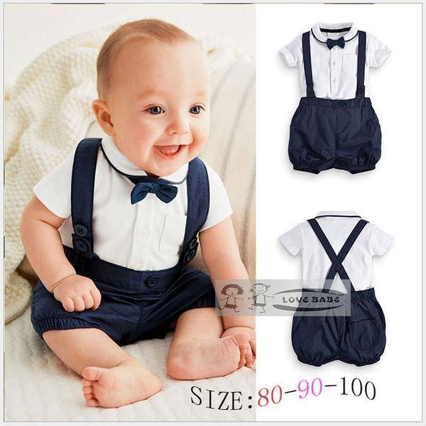 Summer Baby Clothing Cotton 2pcs Suit Short Infant Boy Gentleman Suspender Gift Sets for Newborns Christening Suits for Boys