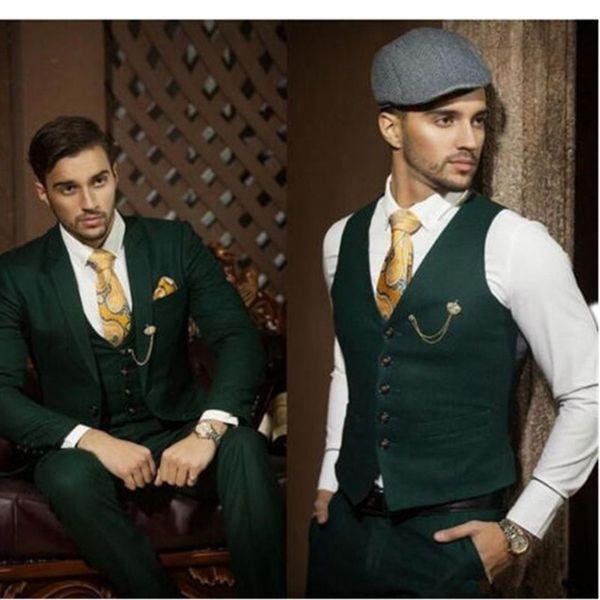 Mens moda ternos 2017 Custom Made Verde Escuro Slim Fit Homens Terno Ocasional Ocasional Ternos de Negócios Do Noivo (Jaqueta + Calça + Colete)