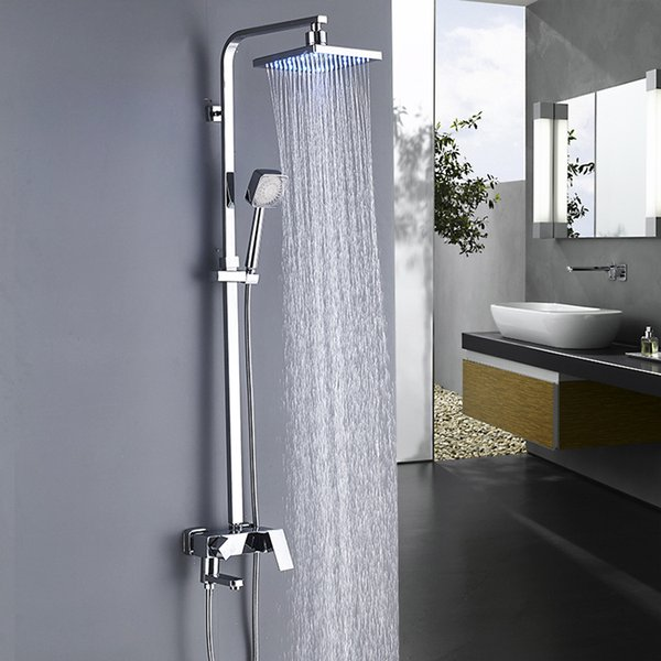 2019 Led Faucet Bathroom 8 Inch Chrome Shower Faucets Tub Hand Plastic Shower Head Mixer Tap Wall Mount One Handle Contemporary From Rozinsanitary1