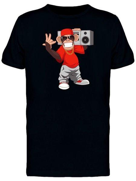 Macaco feliz com Boombox homens Tee-imagem por Shutterstock Engraçado frete grátis Unisex Casual tee presente