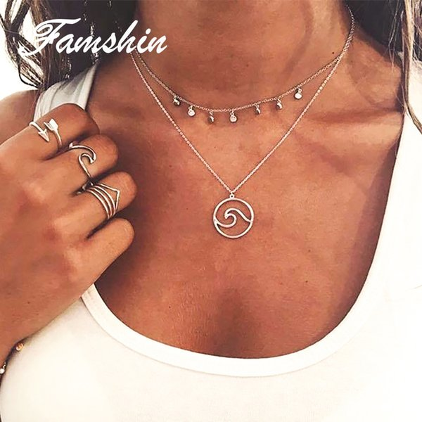 FAMSHIN Bohemia Fashion Wave Necklace Pendant With Chain Summer Beach Nautical Surfing Jewelry Choker Necklaces Jewelry gifts