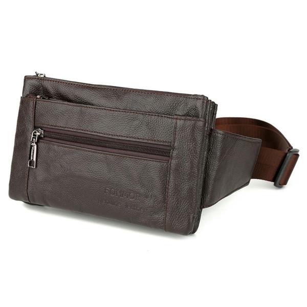 FONMOR Cintura Pacotes Fanny Pack Cinto Saco Telefone Bolsa Sacos de Viagem Cintura Pacote Masculino Bolsa De Couro De Pequeno Saco (Marrom)