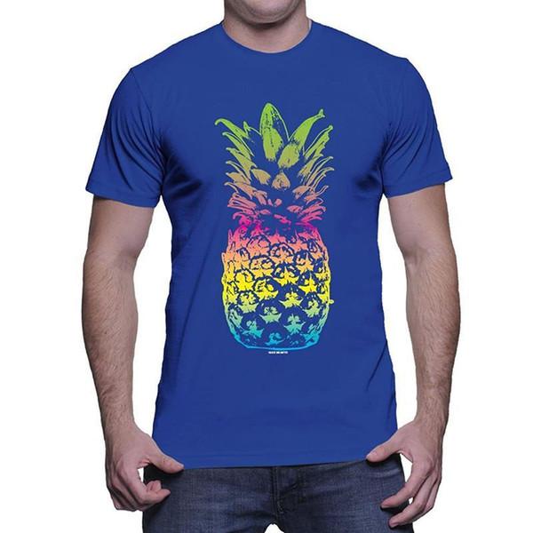Impressionante Camisetas Broadcloth Mens Pinneaple O-pescoço Curto-Luva Dos Homens T Shirt