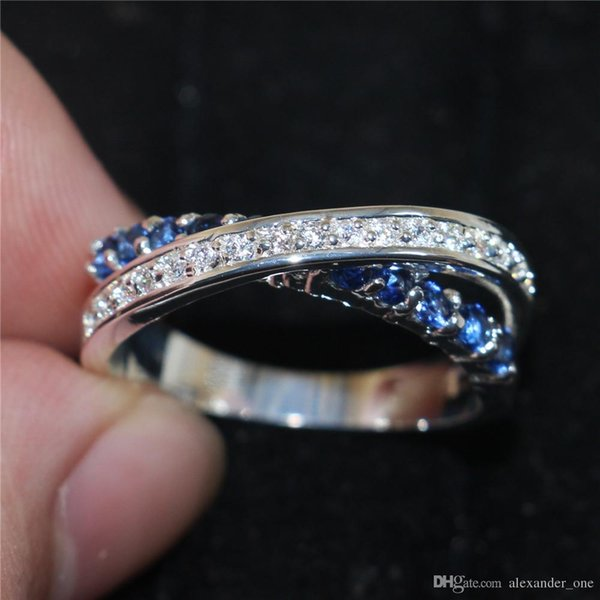 Crossed Wedding Bands.2019 Fashion Blue Sapphire Cubic Zirconia Gemstone Female Jewelry 925 Sterling Silver Crossed Wedding Engagement Band Rings For Women From