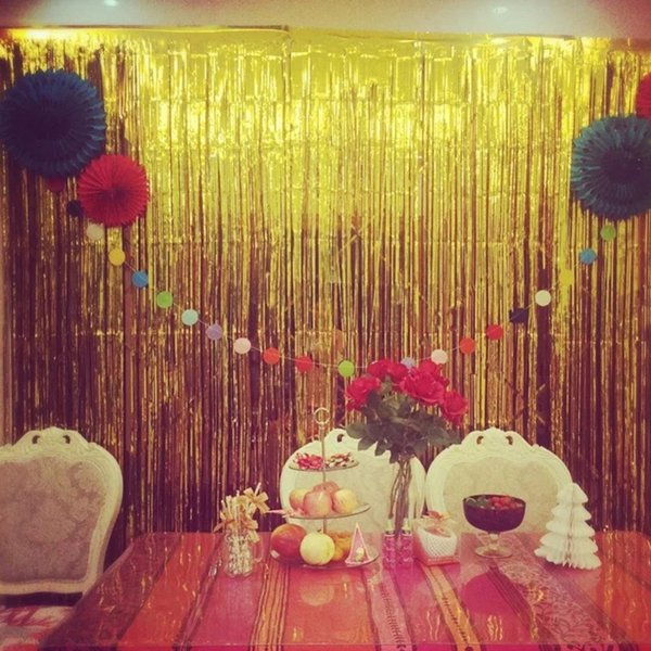 Gold Foil Shimmer Flower Backdrop Gold Wedding Party Photobooth 2m Celebrations & Occasions