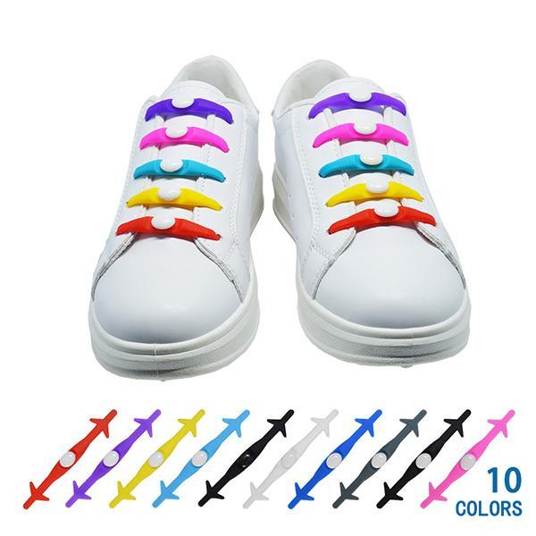 Cool Silicone Shoe Lace 12PCS Set Elastic Silicone Lazy Shoelaces Unisex Color No Tie Rubber Shoe Lace for Men Women
