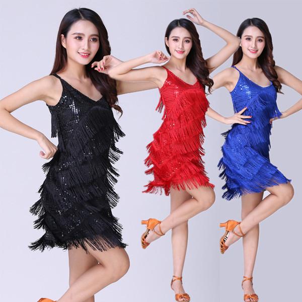 Stage performance suits modern dance performance sequins sling tassel skirt harness Latin dance dress 7 colors