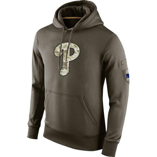 Philadelphia-Sweatshirt Phillies Olive Salute, zum von KO Leistung Baseball Hoodie Männer Frauen zu dienen