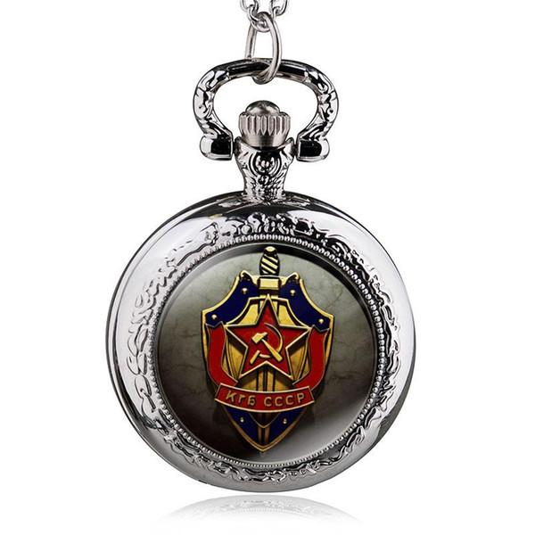 2017 Yeni Antika Sovyetler Birliği SSCB Kuvars Pocket saat Analog Kolye Kolye Mens Womens Saatler