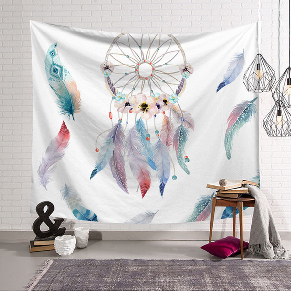 Rectangle Colorful Feather Beach Towel Dream Catcher Tapestry Polyester Fabric Printing Wall Hanging Decoration Room