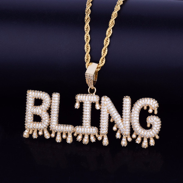 New arrive!!! 26 Small Drip Bubble Letters Necklaces & Pendant Custom Name Charm For Men/Women Gold Silver Cubic Zircon Hip Hop Jewelry