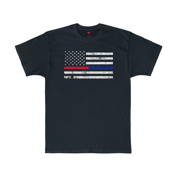 First Responders American Flag Thin Blue & Red Line Tee USA Made T-Shirt Comfortable t shirt Casual Short Sleeve Print 100% Cotton