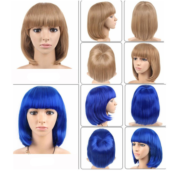 solid color Short 12 Inch Straight Bobo Hair Wig Red Black Purple Yellow Cosplay Wigs Women Synthetic Hair Costume for Halloween