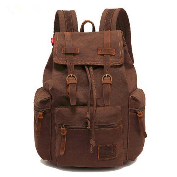 20pcs AUGUR Vintage Canvas Leather Backpack Hiking Daypacks Laptop Backpacks Unisex Casual Rucksack Satchel Mountaineering Bag FREE SAMPLE