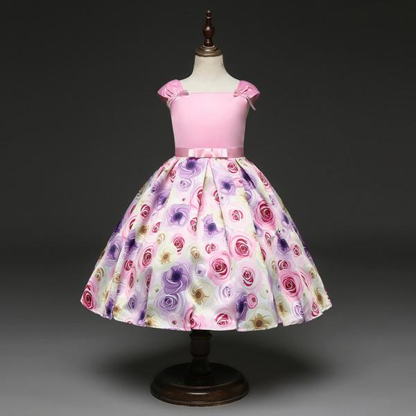 dress 2018 summer Korean style new arrivals Girls Fine flower printed bowknot sleeveless princess Dress free shipping