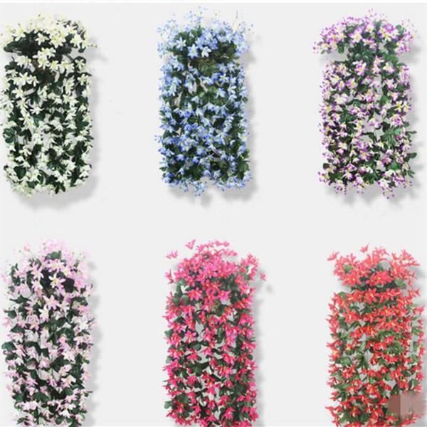 2pcs Artificial Lily Hanging Flower Vine Winter Jasmine Flower Vines Plastic Rattans For Home Party Wedding Decorations