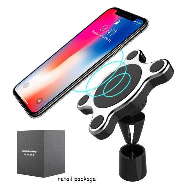 Support d'évent de voiture avec support magnétique pour voiture, chargeur de voiture sans fil pour iPhone X Android Samsung avec paquet de vente au détail