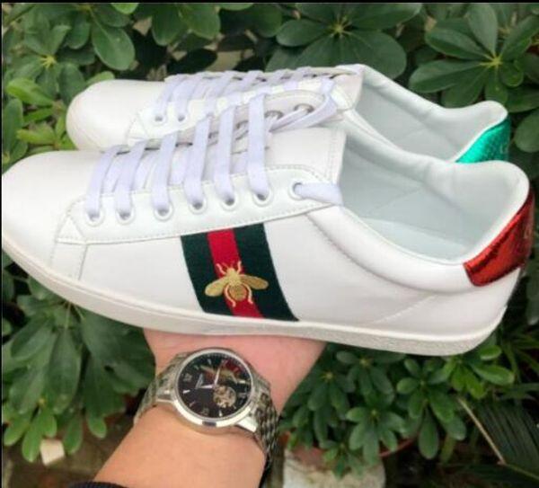 Mens tasarımcı lüks ayakkabılar Rahat Ayakkabılar beyaz mens kadın sneakers gelişmiş malzeme Arı çiçek yılan kalp aşk Hakiki Deri kutusu ile