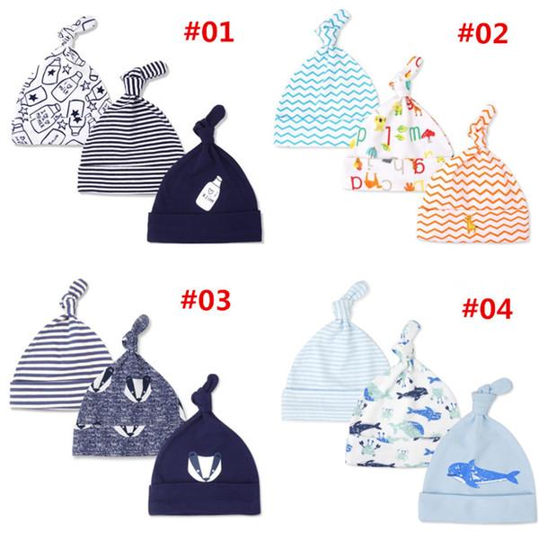 Quenya 0-6M 신생아 아기 소년 소녀 따뜻한 모자 키즈 인쇄 색상 Beanies 매듭 모자 부드러운 잠 모자 부드러운 좋은 아기 수면 모자