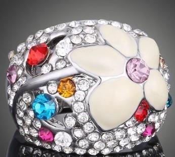 Mais recente chegada mulheres moda jóias flor de noivado de noiva anel de casamento menina festival presente de aniversário de natal