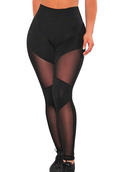 O&W Black Sheer Mesh Gym Leggings
