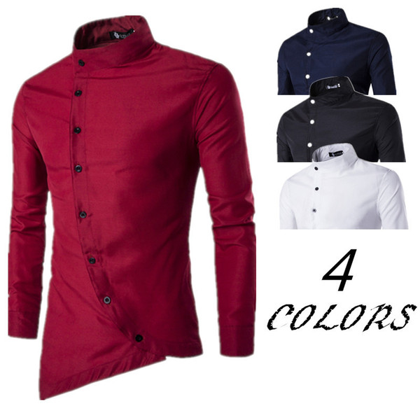 2018 men's tilted door skirt irregular asymmetrical small vertical collar long-sleeved shirt camisas para hombre mens shirts