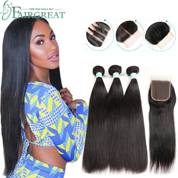 best selling Brazilian Straight Human Hair Bundles with Closure 100% Unprocessed Virgin Hair 3 Bundles with Lace Closure Natural Color Hair Extensions