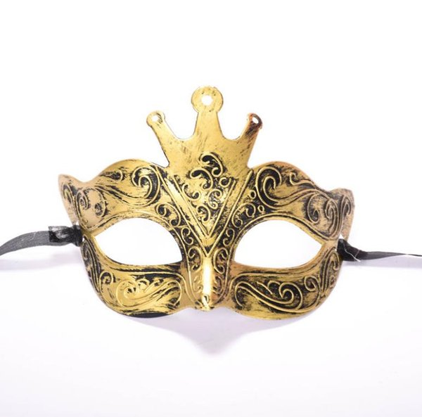 Factory direct Halloween ancient Rome men's antique crown half face carved bronze mask