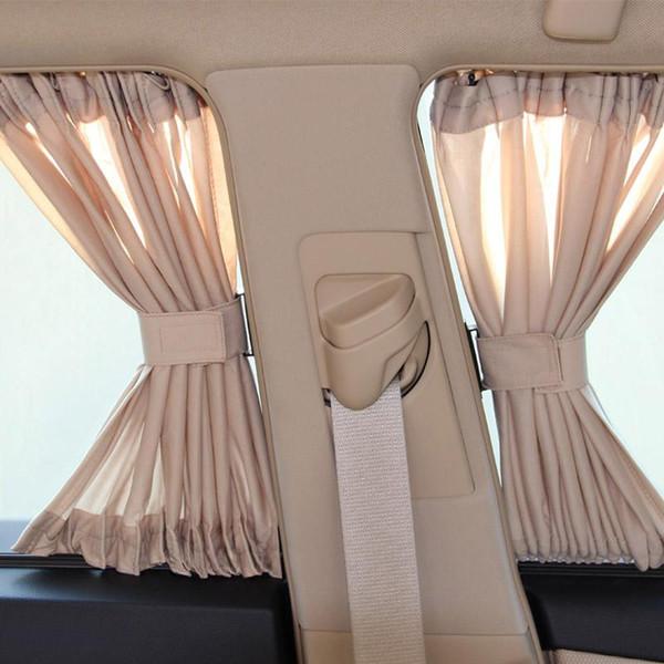 2 x 50 S De Alumínio Vidros Shrinkable Windowshade Cortina Do Lado Do Carro Paredes Auto Traseira Windshield Sun Block - Preto Bege Cinza