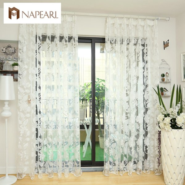 Tulle Tende Floral Design Trattamenti per finestre Tessuti bianchi Ready Made Jacquard Kitchen Door Curtain Sheer Panel Transparent