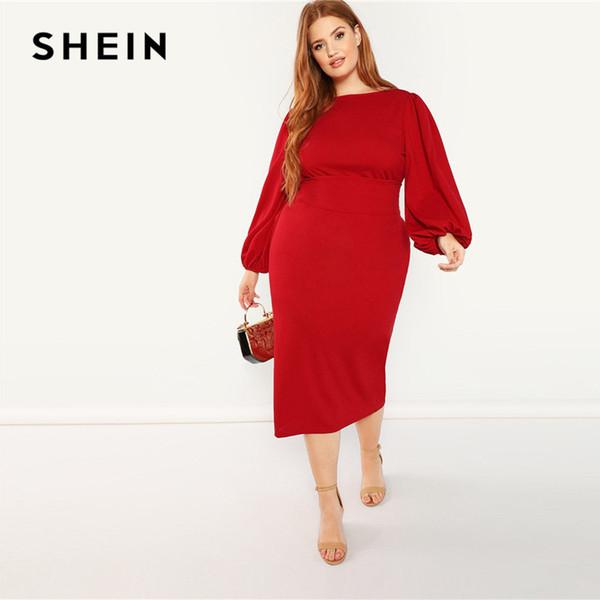 Compre Shein Rojo Tallas Grandes Linterna Manga Larga Cintura Alta Elegante Bodycon Lápiz Vestidos Mujeres Slim Fit Con Cinturón Vestido De Fiesta A