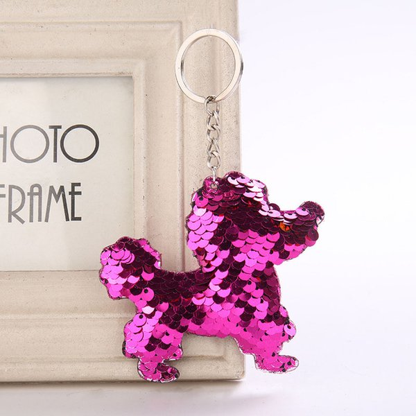Hot Sale Cute Keychain Shinny Sequins dog Keychain Glitter Key Rings Gifts for Women Car Bag Accessories Key Holder 4 Styles H875Q