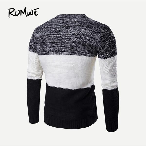 Compre Hombres Patrón De Bloque De Color Contraste Suéter Masculino ...