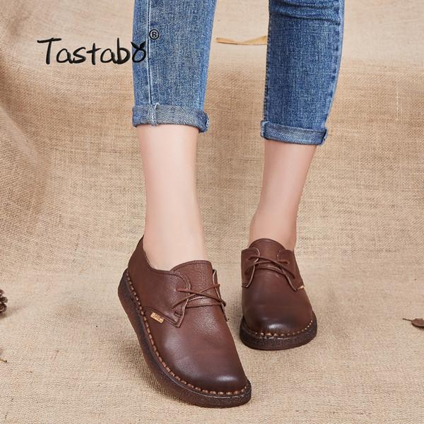 Compre 2019 Casual Tastabo Nuevo Zapato Hecho A Mano 2017 Mocasines Zapatos De Mujer Trabajo Casual Zapatos De Conducción Mujeres Pisos De Cuero