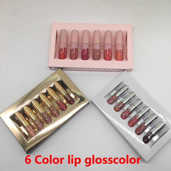top popular HOT Gold lip gloss 6 colors Birthday Limited Edition Holiday Matte Lipstick Valentine Lip gloss Mini Kit Lip Cosmetics 6Colors set makeup 2019