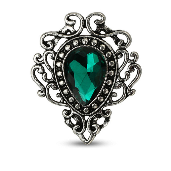 New Vintage Style Jewelry Water Drop Flower Shape Brooches Red Green Blue Stone Brooch for Women