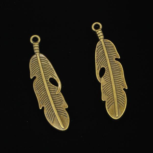 48pcs Charms in lega di zinco bronzo antico placcato Charms piuma per monili che fanno DIY pendenti fatti a mano 49 * 13mm
