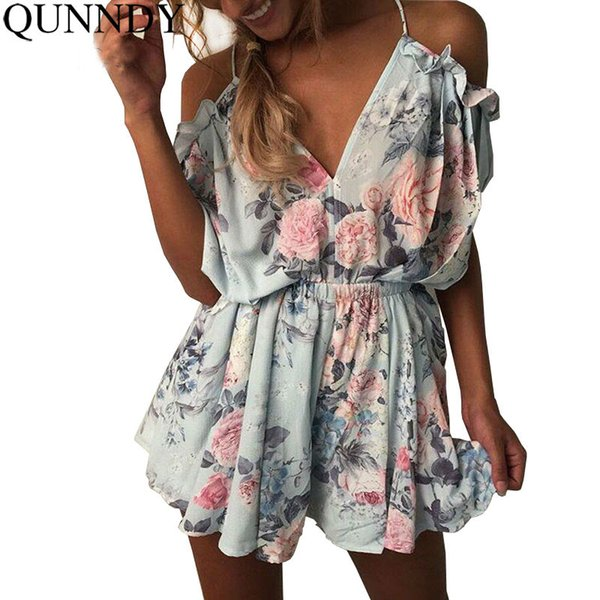 39f646262d76 Women Summer Short Jumpsuits Deep V Nice Backless Off Shoulder Loose  Playsuit Floral Printed Rompers Bodysuit Overall Plus Size