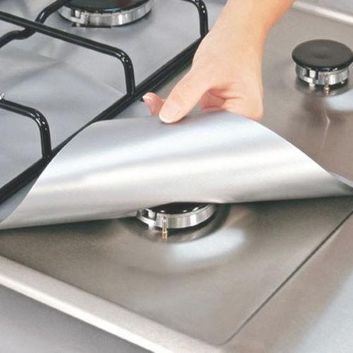 4 pçs / lote Reutilizável Folha De Alumínio Protetor De Fogão A Gás Capa / Forro Reutilizável Não Vara Máquina De Lavar Louça De Silicone Seguro Folha Protetora