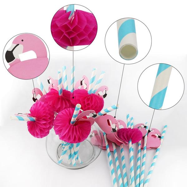 NEW Design 50шт Гавайская вечеринка украшения 3d Flamingo Бумага Straws Cute трубочки Одноразовая посуда бассейн для вечеринок