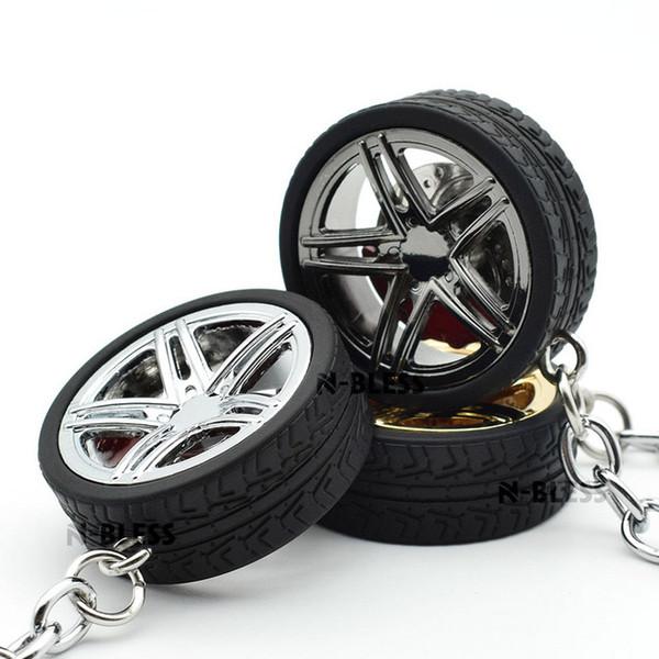 2018 Hot Wheel Rim Tyre Keychain Keyring Key Chain Ring Keyfob with Brake discs Alloy Car Auto Wheel Rim Keychain Black Silver