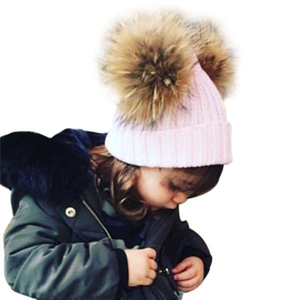 4d4ad190ad7 Kids Winter Hat Unisex Boys Girls Beanies Wool Knitted Fashion Warm Rex Rabbit  Fur Pom Pom
