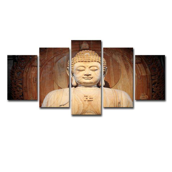 Modern Home Wall Art Decor Framework Modular Canvas Pictures 5 Pieces Buddha Statue Painting HD Prints Buddha Art Poster
