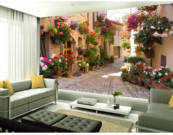Tapeten Für Wohnzimmer 3D Wandbilder Tapete Europäischen Garten Gasse Sofa  Hintergrund Wand TV Hintergrund Wandmalerei