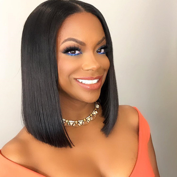 Bob Lace Front Wig Human Hair With Baby Hair Peruvian Remy Brown Bob Wig For Women Gluless Pluck Full End Lace Wig
