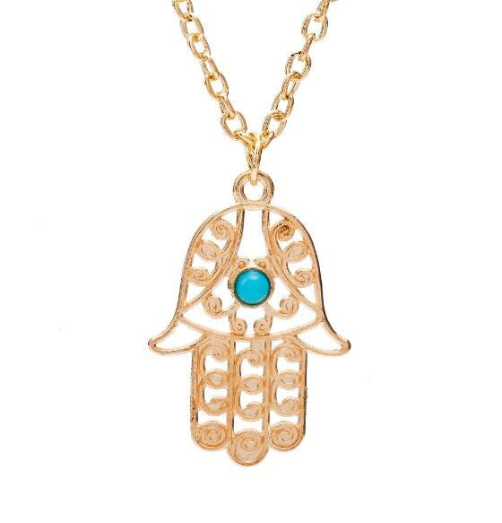 DHL Hamsa Hand Pendants Necklace Fashion Luck Fatima Hand Palm Statement Pendant Clavicle Necklace Collares Designer Luck Jewelry