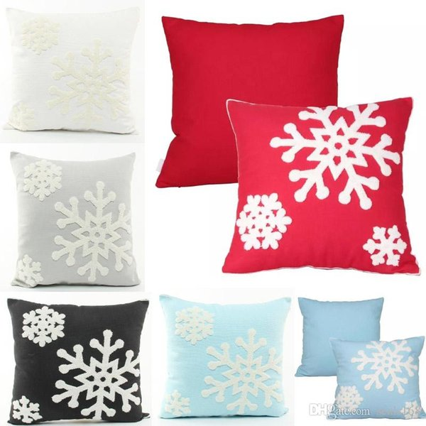 Snowflake Pillow Case Covers Cotton Line Embroidered Throw Pillow Cushion Cover Home Christmas Decorative Gifts HH7-1802