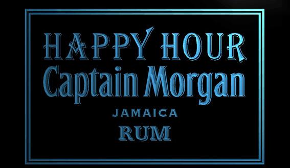 LS1286-b-Captain-Morgan-Rum-Happy-Hour-Bar-Neon-Light-Sign Decor Free Shipping Dropshipping Wholesale 8 colors to choose