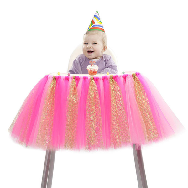 1PCS Tulle Glitter Table Skirts Tutu High Chair Skirt Baby Shower Decorations for Boys Girls Party 1st Birthday Party Supplies 100*35cm