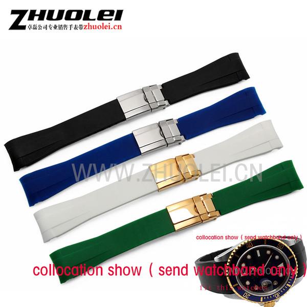 20mm Männer schwarz   grün gebogenes Ende Silikonkautschukband Uhrenarmband mit Silber golden Einsatz Schnalle Sport Armbanduhren Band